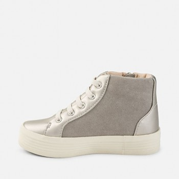 MAYORAL Girl trainers with platform and rivets, silver 46757-49